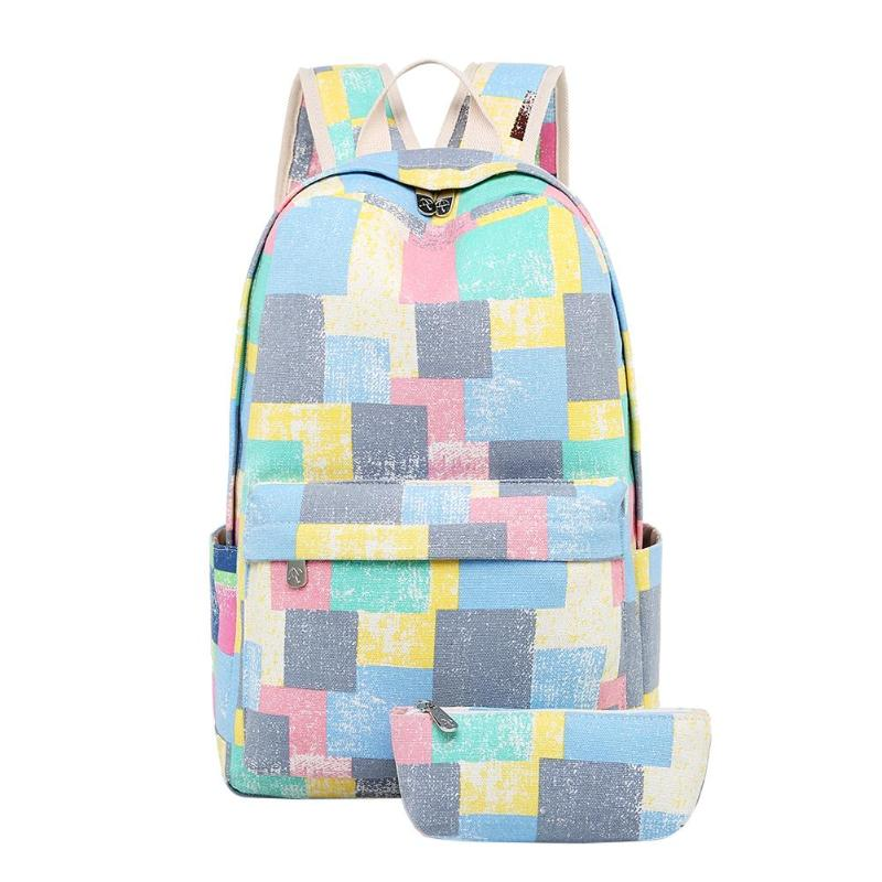 2Pcs/Set Retro Girls Canvas Floral Print Backpack Teenagers Patchwork Color Rucksack School Bags Accessories For Students