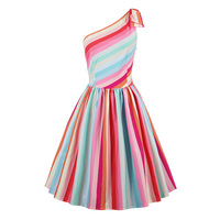Sisjuly Summer 1950s Vintage Dresses Knee Length Women Multi Color Striped Dress 2017 Backless One Shoulder