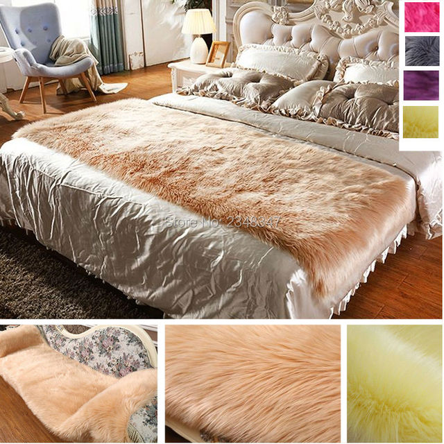 Long Fur Artificial Sheepskin Rectangle Fluffy Sofa Bed Cover Carpet Area  Rug Bedroom Home Decoration Camel