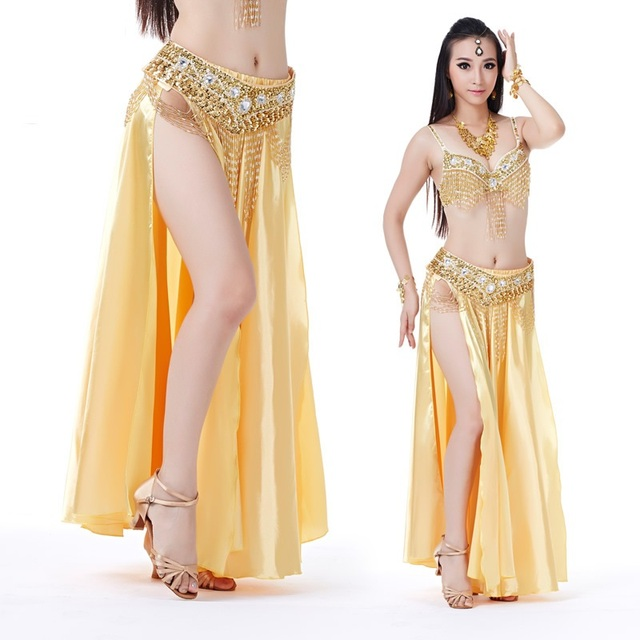 19f2e8d5a 2016 New Fashion Satin Long Skirt Belly Dance Dresses Split Bellydance Wear  Stage Maxi Skirts Women More Colors (Without Belt)