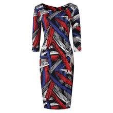 Плюс Размеры платье 2017, женская обувь Повседневное квадратный воротник 3/4 рукава Элегантный Красочные Тонкий Bodycon Офис карандаш 5XL платье роковой