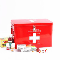 Family Multi Layer Multifunctional Micro Toolbox First Aid Kit Red With White Cross Metal Medicine Storage