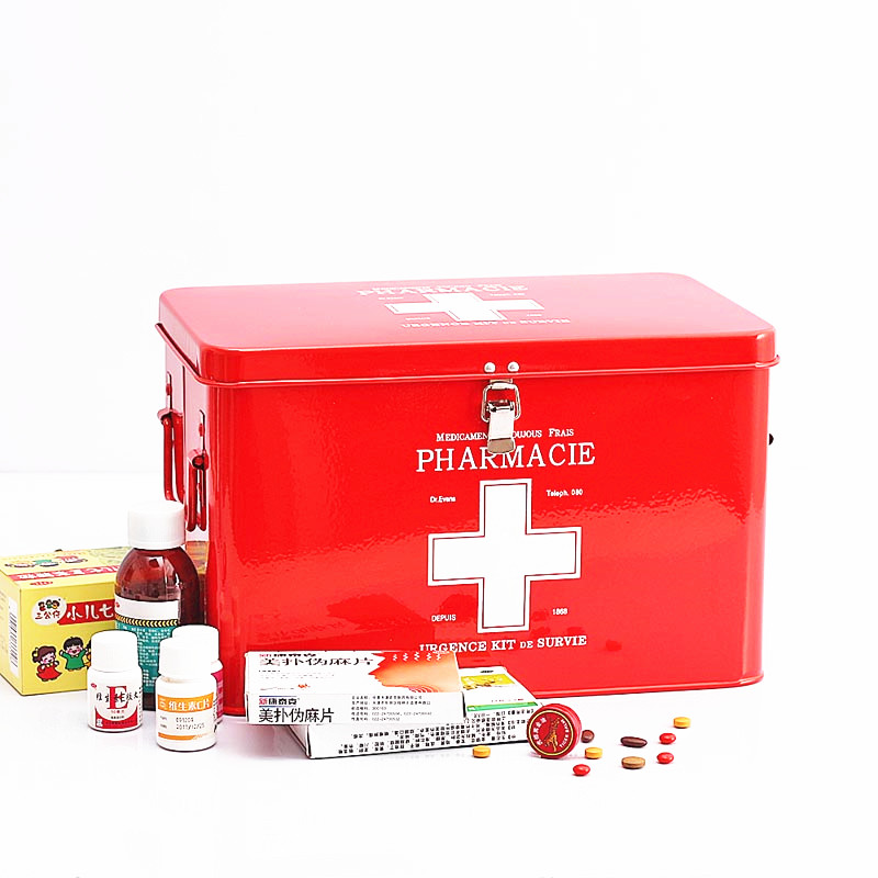 Family Multi-layer Multifunctional Micro-toolbox First Aid Kit Red with White Cross Metal Medicine Storage Box цена