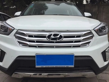 MONTFORD Car ABS Chrome Exterior Front Grille Racing Grille Cover Trim Decoration Frame For Hyundai Creta IX25 2015 2016 2017 grille