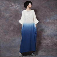 Nefeilike New Spring Women Patchwork Embroidery Dresses New Casual Loose Waist Plus Size Cotton Linen Three