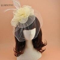 Fashion White Beieg Black Mesh Flower Feather Metal Head Bands Ladies Party Show Bride Wedding Veil Net Fascinator Hat Headdress