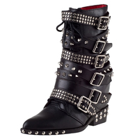 Cool Punk Women Mortorcycle Boots Spikes Stud Belt Buckle Concealed Wedges Side Zip Ankle Boots Black Soft Leather Bota Feminina