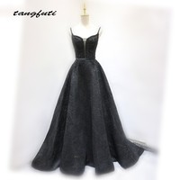 Black Long Evening Dresses Party Lace Beading Paerls A Line Womens Elegant Prom Formal Evening Gowns Dresses for Women 2018