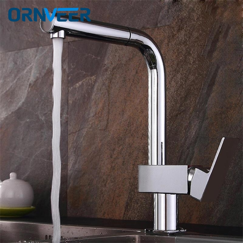 New Arrival!New chrome pull out kitchen faucet brass kitchen mixer sink faucet kitchen faucets pull out kitchen tap torneira black chrome kitchen faucet pull out sink faucets mixer cold and hot kitchen tap single hole water tap torneira