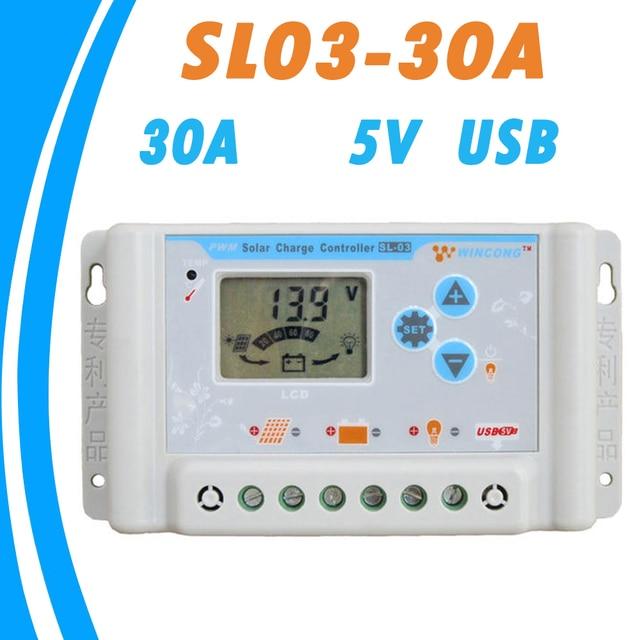 Mando de cargador Solar de 12V, 24V, 30A, 5V, pantalla LCD con amplio rango de temperatura, regulador de Panel Solar, PWM, novedad de 2019
