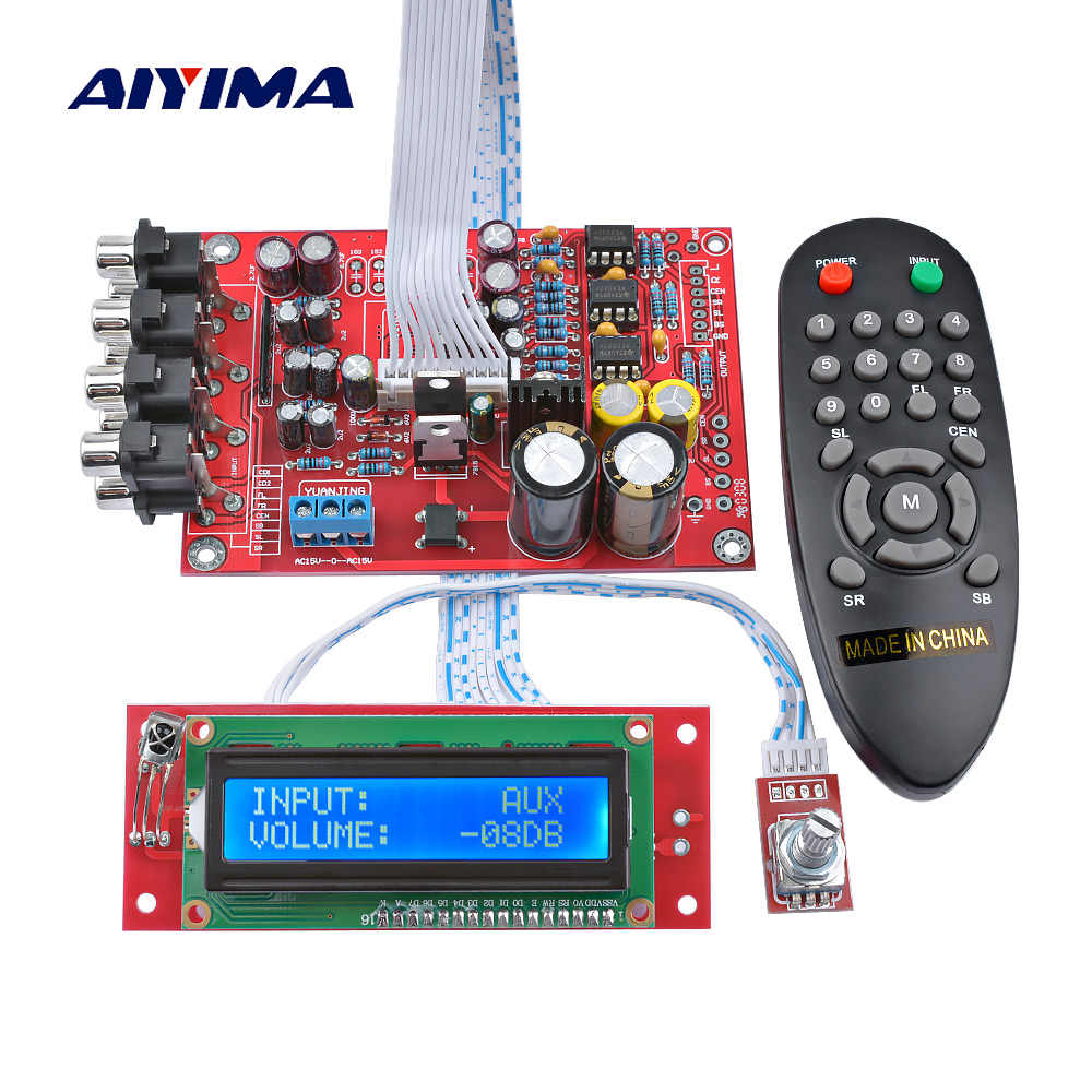 Aiyima M62446 6 Channel Remote Control Kontrol Volume Preamplifier LCD Display 5.1 Volume Audio Preamp NE5532 Op Amp untuk 5.1 amp