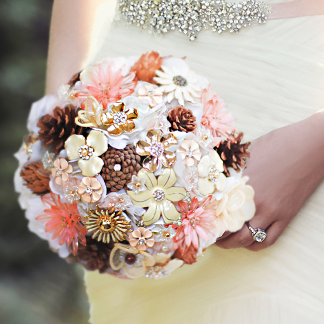 Coral  Chocolate Wedding Bouquet Custom Brown Crystal Brooch Bouquet Bridal Bride's Pinecone Idyllic Village Forest Bouquets