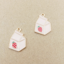 10pcs 13x20mm strawberry box enamel charms for jewelry making fashion earring pendant necklace and bracelet charm