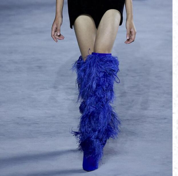 Le Bottes Chaussures Hauts Roi Genou Sur Bleu Blanc Glands bleu 43 Noir Femmes D'hiver Mode Talons Noir 35 À Fringe Emma Taille nqIzOxYx
