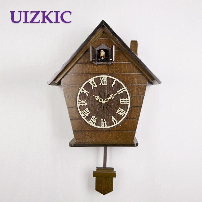 Skutečný dřevěný tvar domu gravírování kreativní světlem ovládaná hudba čas dětský pokoj kukačkové hodiny festival dárek dárek