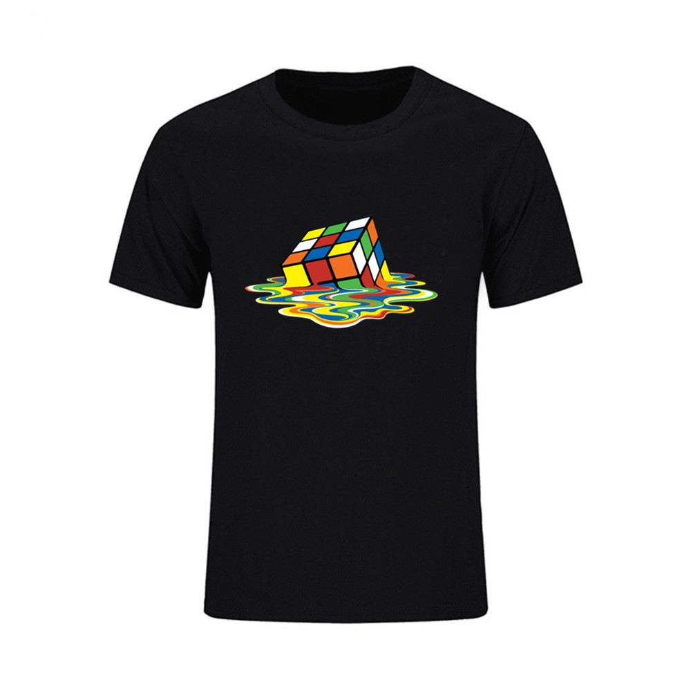 9bfa94511 Melt Cube Printed 3d T shirt Men Creative Fashion Magic Cube T-shirt man  Short Tee Cotton Tops The Big Bang Theory Geek Tshirt