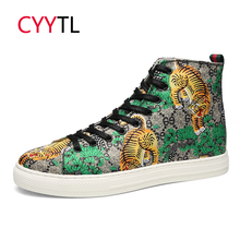 CYYTL Somali Fashion Men Shoes Hight-top Printing Teenager Casual Sneakers Bengal Tiger Male Loafers Chaussure Zapatos de Hombre