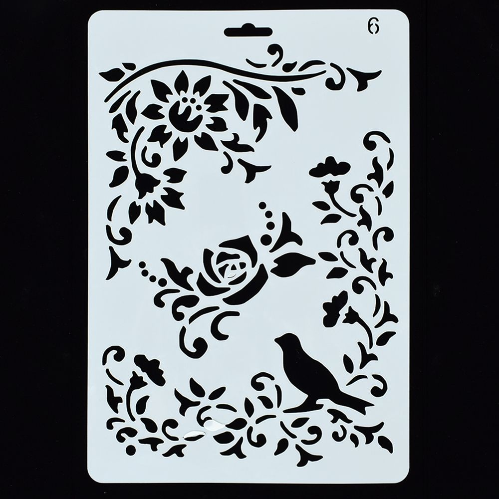 12 Styles DIY Hollow Flower Drawing Manual Painting Board Template Ruler Stencil Icon Tool Painting Teaching Tools Gift Hot