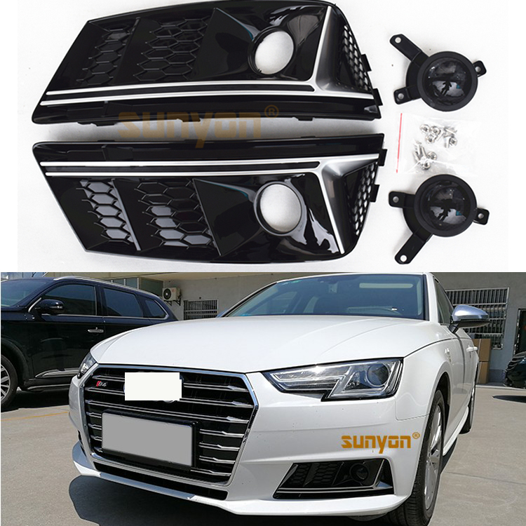 B9 A4 S4 Style Black Front Bumper Fog Lamp Cover Fog Light Trim Grill Grille For Audi A4 b9 Standard Bumper 2017-2019 front bumper fog lamp cover abs fog light mask cover grill grid with led light grille for audi for a6 c7 2013