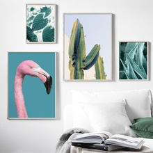 Pink Flamingo Cactus Aloe Plant Landscape Wall Art Canvas Painting Nordic Posters And Prints Pictures For Living Room Decor