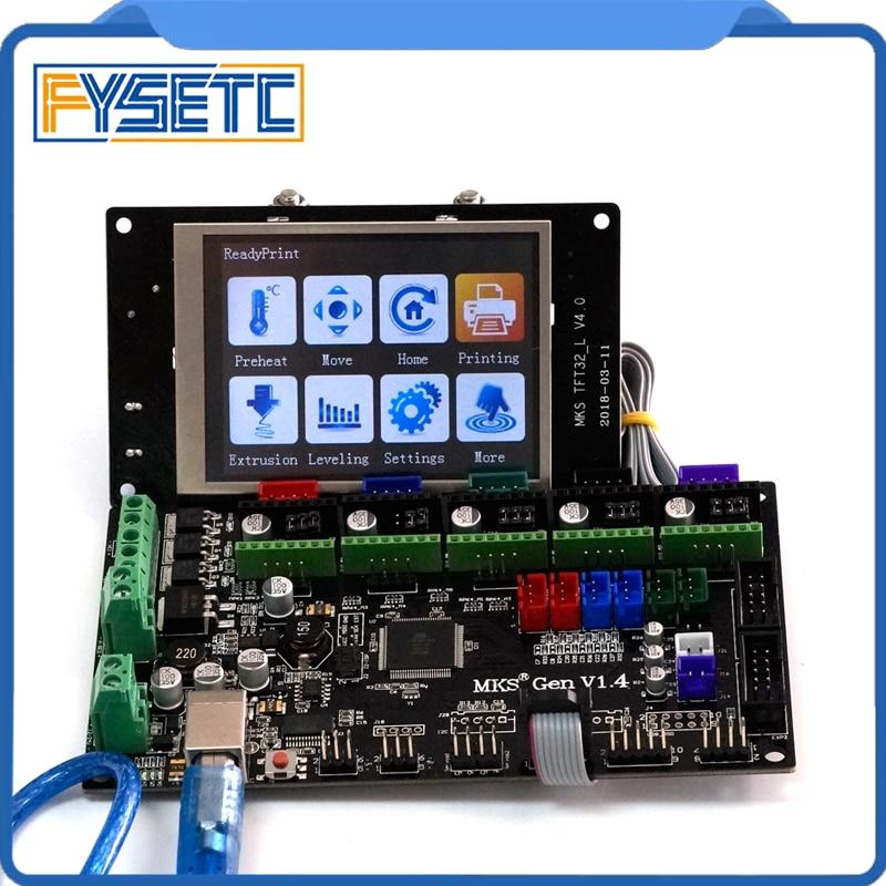 3D impresora MKS Gen V1.4 Control Mega 2560 R3 Motherboard RepRap Ramps1.4 con TFT32 V4.0 pantalla LCD