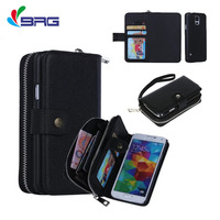 Luxury Handbag Purse Case For Samsung Galaxy S5 Wallet Zipper Leather Flip Pouch For Samsung S5