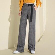 2018 New Fashion Plaid Wide Leg Pants Gray High Waist Pants Casual Loose Long OL Pants Palazzo Korean Elegant Trousers Female