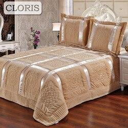 Cloris 2018 alta qualidade cobertor manta acolchoado retalhos colcha cama king size lençóis qualt coverlet sobre o véu de cama com para baixo