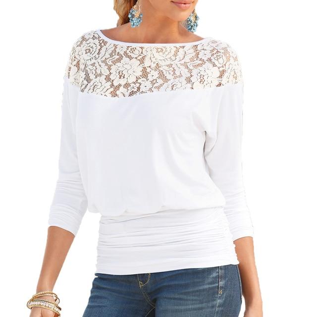 Women Lace Stitching Chiffon Blouses Loose Type Slash neck Shirts Solid Color Three Quarter Sleeve Women Summer Blouse