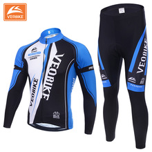 VEOBIKE Winter Fleece Cycling Sets Bicycle Thermal Jacket Men's Bike Trousers ropa ciclismo Winter Cycling Clothing Sportswear