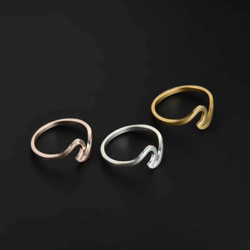 คลื่นแหวนเงินงานแต่งงานแหวนผู้หญิงเครื่องประดับหมั้นแหวนสตรีแหวน