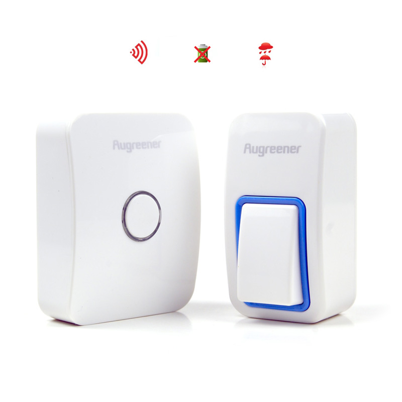 25 Ringtones Wireless Cordless Remote Control Doorbell Door Bell Chime,No need battery,Waterproof, White/ AC 220V image