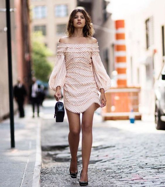 [DEAT] 2020 spring New Arrival Fashion Slash Neck Lantern Sleeve Beading Casual Half Sleeve Sheath Women Dress Lady KB550 3