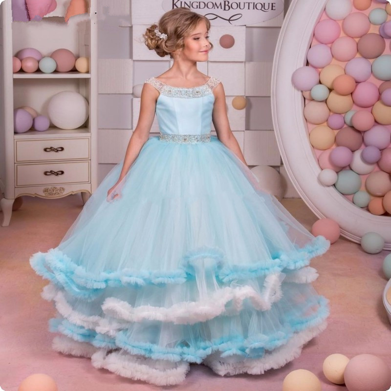 2017 New Princess for Girls First Communion Dress Graduation Birthday Gown Long Child Pageant Prom Gown Flower Girl Dress Custom lovely new puffy flower girl dresses beaded overskirts floor length first communion dress pageant birthday gown 2017 custom new