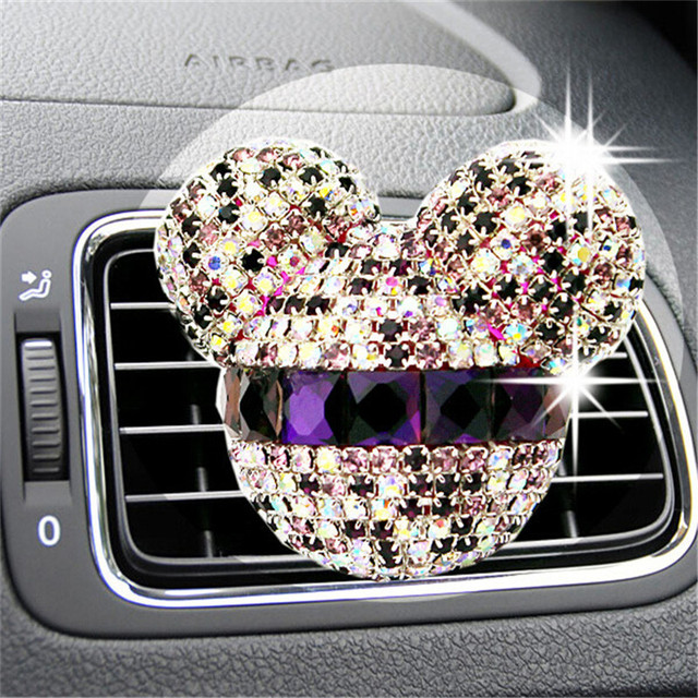 2Pcs/Bag Luxury Car Ornaments Girl Exquisite Diamond Mickey Air conditioning Outlet Perfume Car Air Refreshing
