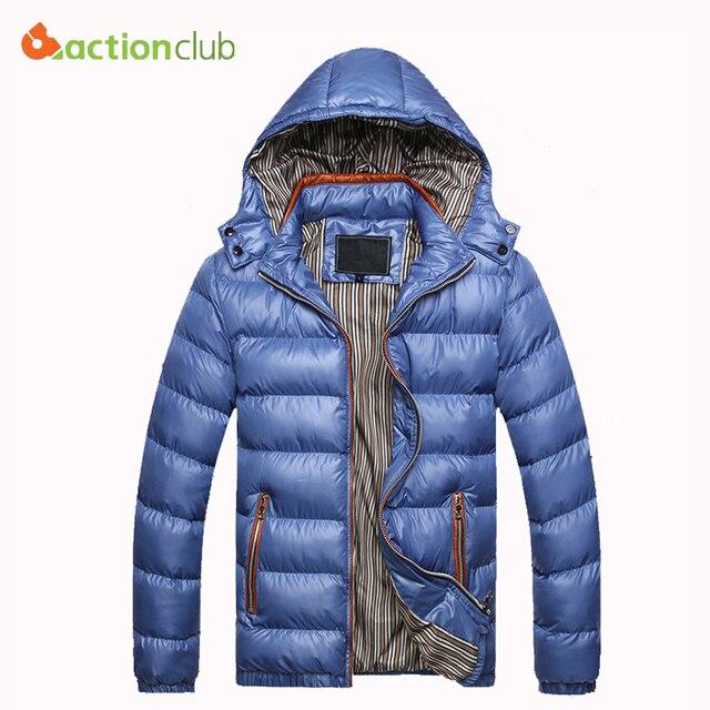 ACTIONCLUB Men Hoody Winter Coats Male Hooded Plus Size XXXL Jackets Teenager Slim Fit Windbreaker Outwear Down Cotton Parka