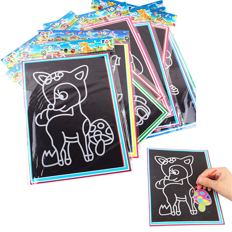 Cheap Sale Colorful Magic Scratch Drawing Art Painting Paper Notebook Kids Children Educational Learning Stick Toys 12.7cm X 17.2cm At All Costs Office & School Supplies