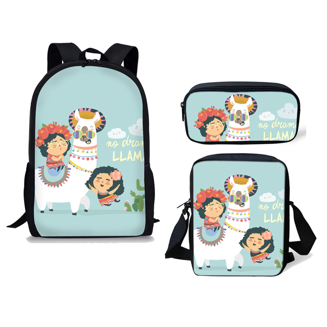INSTANTARTS Cute Cartoon Alpaca Llama Printing Children School Bag Mochila Shoulder Bag 3pcs Set Teenager Girl School Backpack – HMB455C
