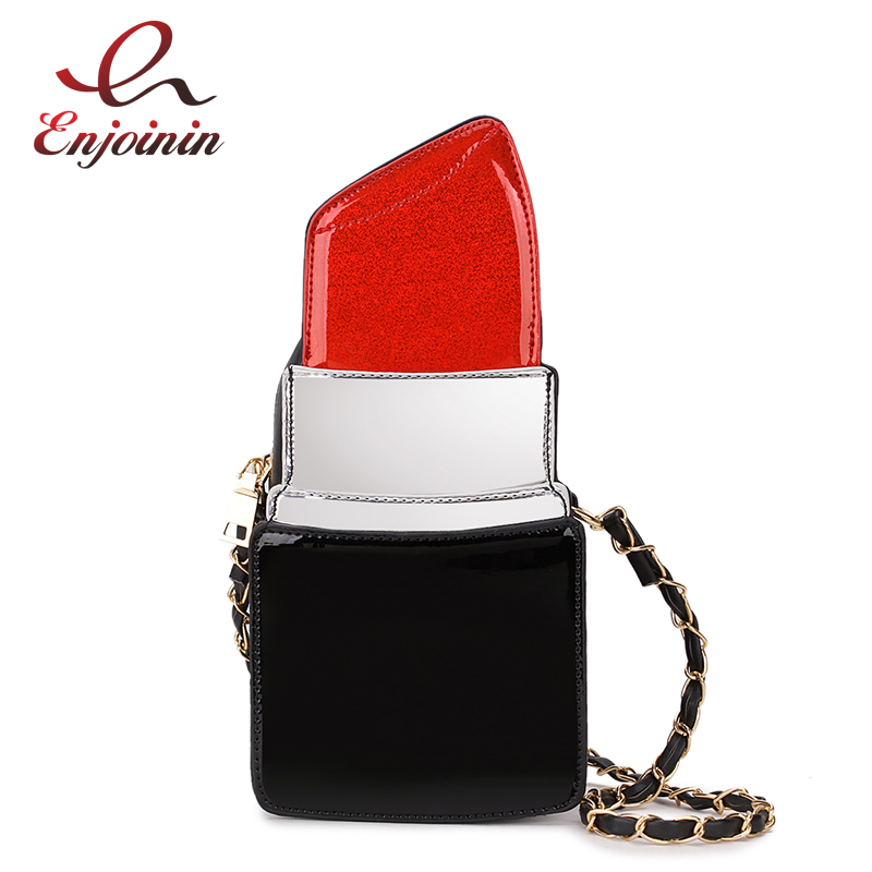 Fashion Fun Pu Leather Lipstick Design Ladies Shoulder Bag Chain Purse Casual Handbag Crossbody Messenger Bag Female Flap Bolsa
