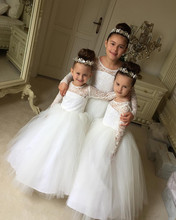 2019 white First Communion Dresses Puffy Lace Tulle long sleeves Ball Gown princess Flower Girl Dresses birthday Pageant gown 2019 hot sale off shoulder lace tulle flower girl dresses with sleeves floor length white holy first communion dresses ball gown