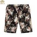 Miuk tamanho grande de linho calções de praia florais 4xl verão hawaii estilo moda masculina bermuda na altura do joelho ocasional 2017 homens novo