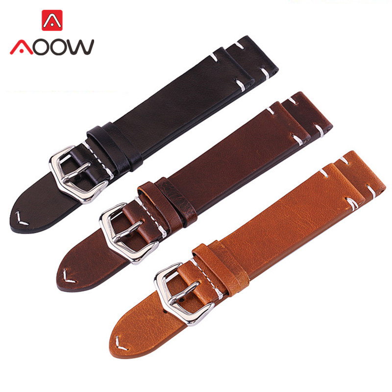 Cow Leather Watchband 18mm 20mm 22mm 24mm Vintage Dark Brown Men Women Replacement Bracelet Strap Band Watch Accessories цены