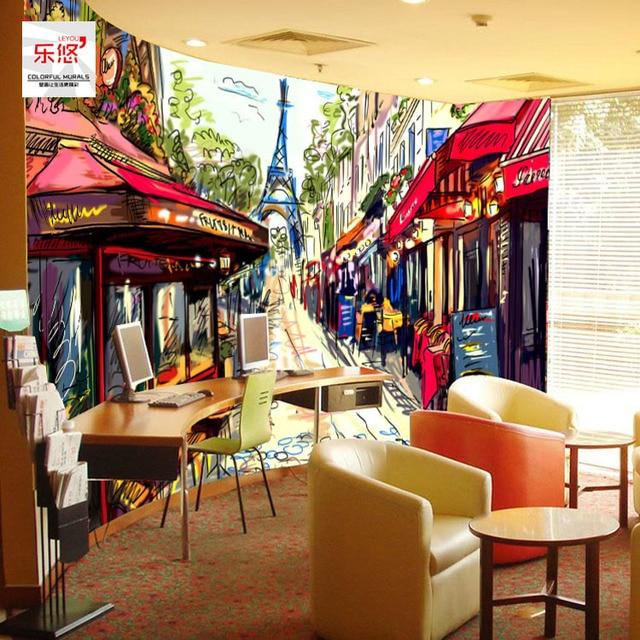 Бесплатная Доставка на заказ обои Винтаж 3D росписи Бар Кафе КТВ фоне стены обои ручной росписью Париж обои