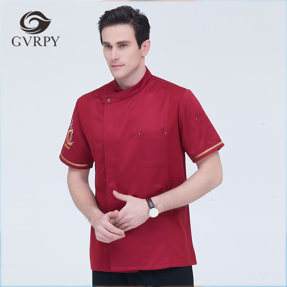 Summer New Style Women Men Short-sleeves Oblique Collar Chinese Restaurant Kitchen Bakery Work Uniform High Quality Chef Jackets