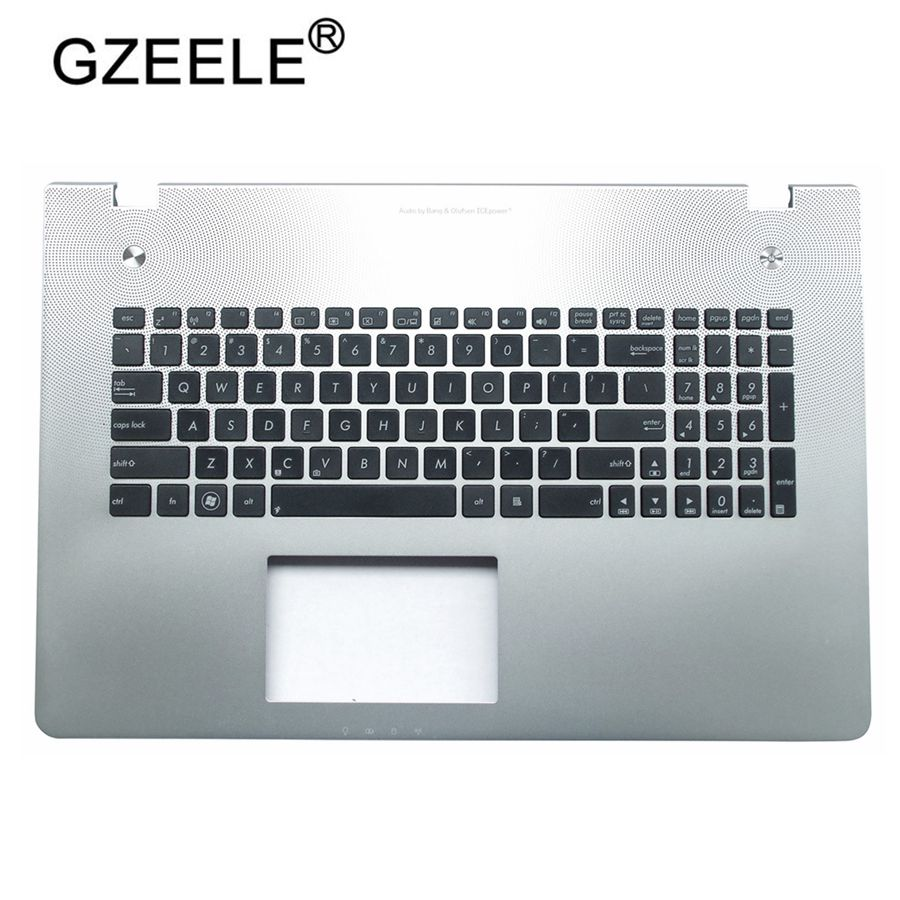 GZEELE US Layout Keyboard for Asus N76 N76VB N76VJ N76VM N76VZ black with silver topcase Laptop palmrest upper case KB bezel  GZEELE US Layout Keyboard for Asus N76 N76VB N76VJ N76VM N76VZ black with silver topcase Laptop palmrest upper case KB bezel