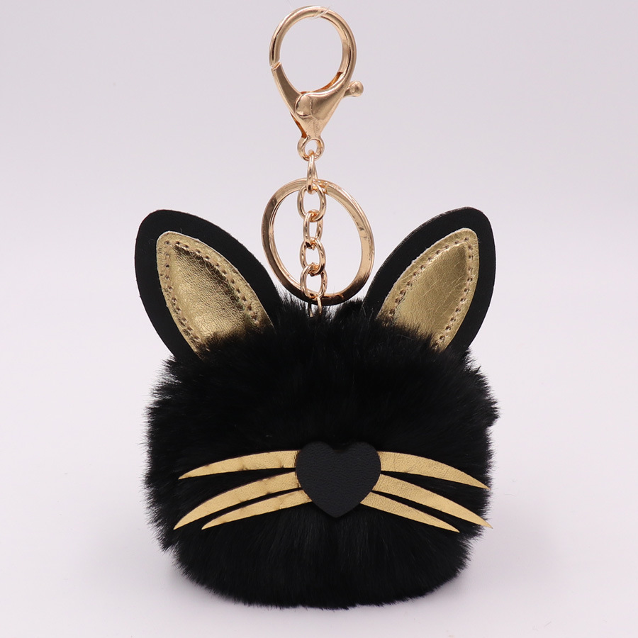 Hot Sale 1pc Cute Cat Keychain Pendant Women Key Ring Holder Pompoms Key Chains For Gift Dropshipping in Key Chains from Jewelry Accessories