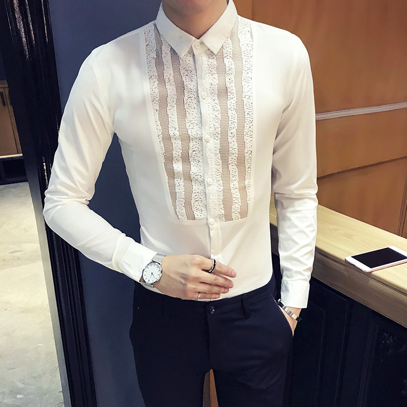 Spring Tuxedo Shirt Men Fashion 2018 New Sexy Lace Hollow Mens Party Dress Shirts Long Sleeve Slim Fit Hairstylist Shirts Social ...