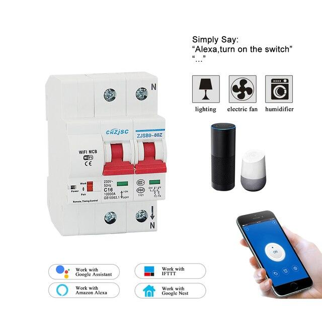 2 P WiFi interruptor de circuito inteligente interruptor automático de sobrecarga de protección de cortocircuito con Amazon Alexa Google home para hogar inteligente