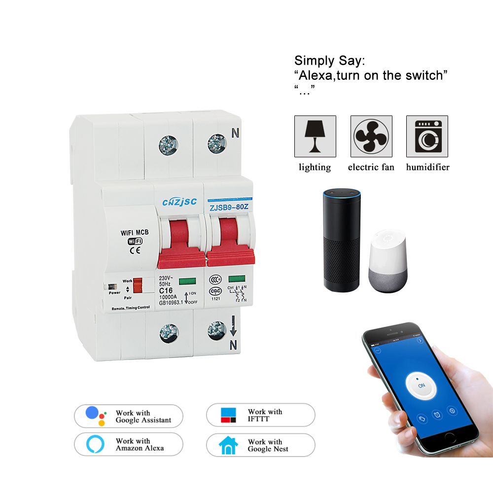 2P WiFi Smart Circuit Breaker Automatic Switch overload short circuit protection with Amazon Alexa Google home