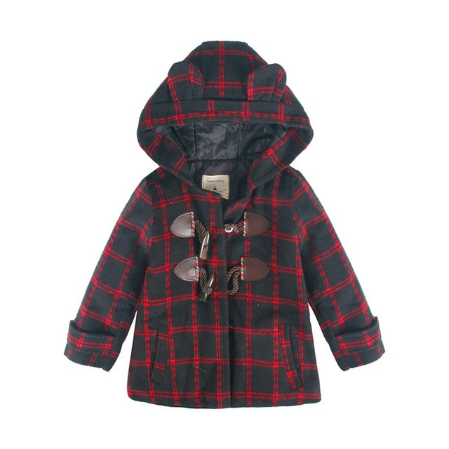 LittleSpring Boys Winter Wool Long Coat New Design Horn Button Warm Plaid Overcoat Kids Boy Cartoon Jacket Trench Kids Outwear